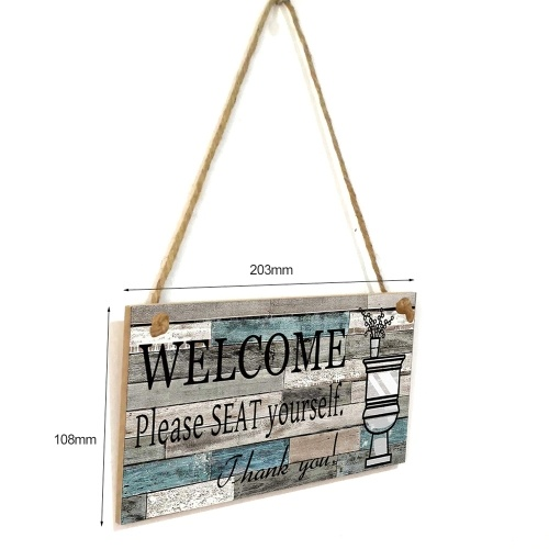 Wooden Decoration Artware Wall Hanging Signed Wlecome Please Seat Yourself With Hemp Rope