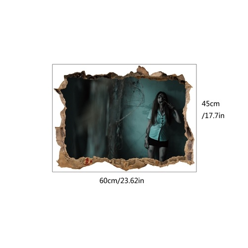 3d View Scary Wall Ghost Wall Sticker