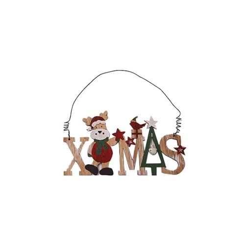 Creative Christmas Wooden Bell Pendant Santa Snowman
