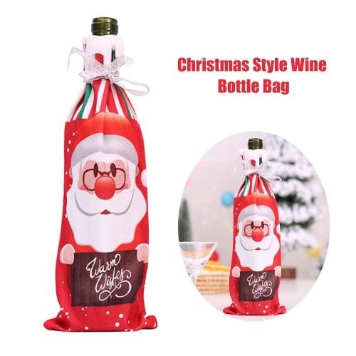 Borsa per bottiglia di vino in stile natalizio con motivo stampato Babbo Natale / Pupazzo di neve / alce Bottiglia di champagne Copertura per bottiglia di vino Forniture per decorazioni natalizie