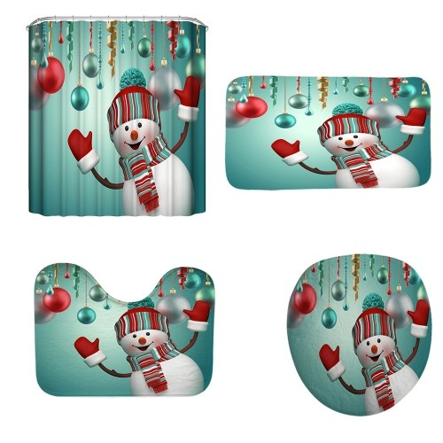 Navidad Un estilo 3D Impresión digital Cuarto de baño Multicolor Patrón de muñeco de nieve Multicolor Impermeable Baño duradero Cuatro piezas