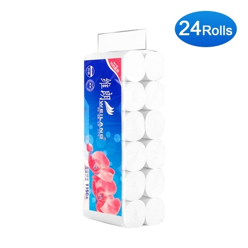 24 Rolls Coreless Roll Paper Towels Washroom Tissue Paper Towels Toilet Paper Soft & Strong Easy Tear-off for Home Commercial Use