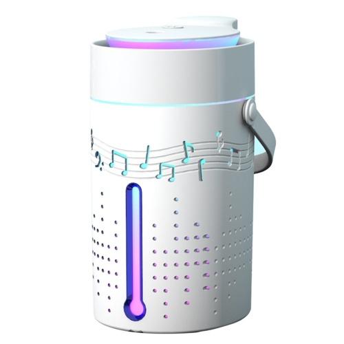 Diffusore per umidificatore a nebbia da 1000 ml con altoparlante Bluetooth Umidificatore silenzioso a luce colorata Diffusore di olio essenziale Spegnimento automatico Umidificatore di riempimento superiore per umidificatore domestico alimentato tramite USB da camera