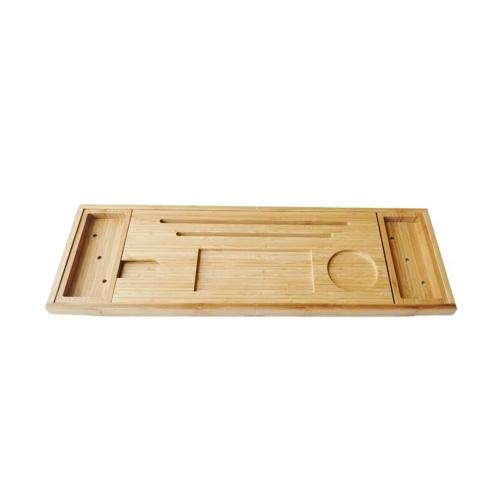 Bathtub Caddy Tray Bamboo Spa Bathtub Caddy Organizer Book Wine Tablet Holder Phone Rack Nonslip Bottom Extendable Sides