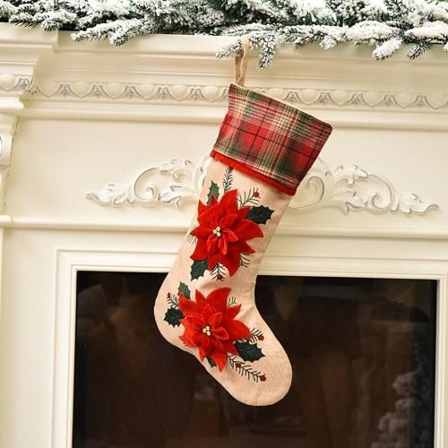 Calza natalizia Peluche 3D 18 '' personaggio natalizio con polsino in pelliccia sintetica Decorazioni natalizie e stile accessorio per feste 3