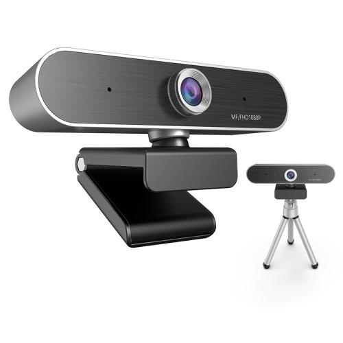 Webcam 1080P Webcam Live Streaming Webcam USB Web Camera con doppio treppiede per microfono
