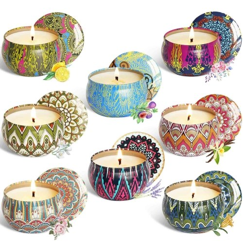 Scented Candles Soy Wax Gift Set-Lemon Jasmine Mediterranean Fig Bergamot Lavender Vanilla Spring Rose Aromatherapy Candles for Relaxation Gifts for Festival Birthday Smokeless Candle 8 Pcs