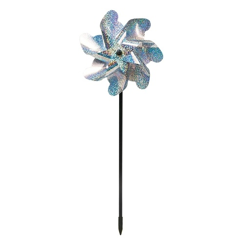 8Pcs Bird Repellent Pinwheels Sparkly Holographic Pin Wheel Spinners Scare Birds and Pests