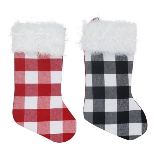 2 peças meias de Natal 19 '' grande meia de Natal xadrez de pelúcia faux pele manguito meias de Natal decorações para festa de natal em casa