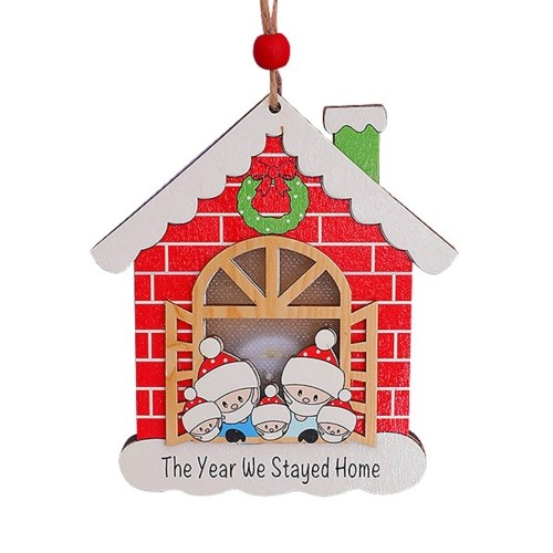 Christmas Tree Decoration Wooden House Glow Ornament