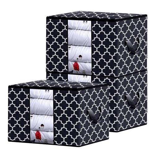 3PCS Large Foldable Laundry Storage Bag Organizer with Handles Zipper & Transparent visual Window Design