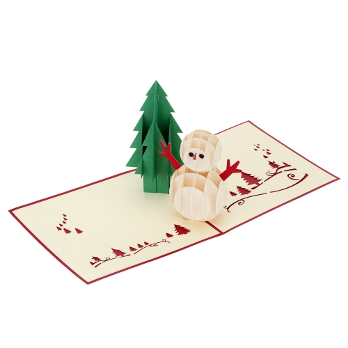 3D Handmade Folding Christmas Card Pop Up Kirigami Xmas Greeting Postcard with Envelop Christmas Tree Snowman Pattern Xmas Accessory