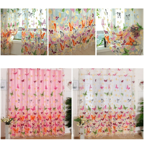 2PCS 1M*2M Romantic Washable Window Door Curtains Sheer Voile Tulle for Bedroom Living Room Balcony Kitchen Shop Decoration Colorful Printed Butterfly Flower Pattern Sun-shading Curtain Home Textile Decor
