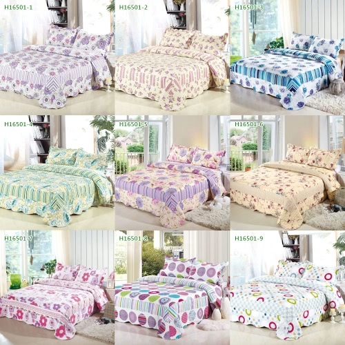 3pcs Bedding Set 230 * 260 CM stampato fiore pianta Cording Pattern poliestere fibra Patchwork Quilt trapunta cuscino casi biancheria Home Textiles