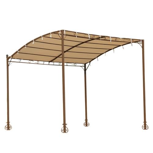 iKayaa 3*2.5*2.5M Metal Patio Wall Gazebo Garden Canopy Door Porch Marquee Polyester Roof