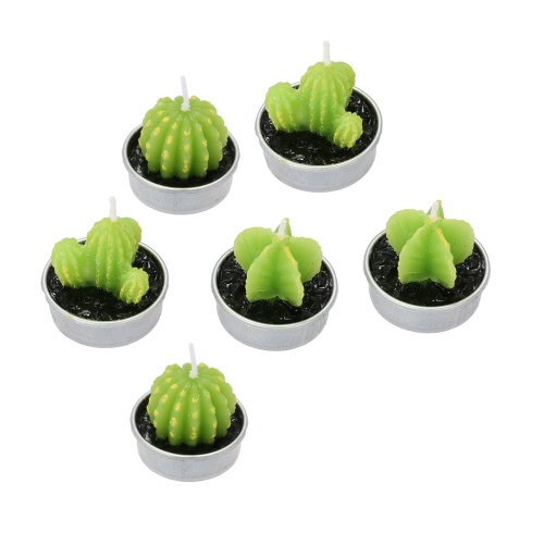 Douself 6pcs Cactus Candles Artificial Green Plants Candles for Birthday Wedding Home Decoration