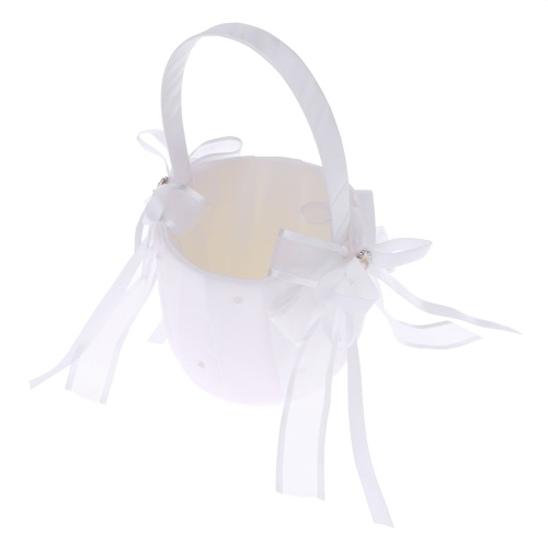 Romantic Wedding Satin Flower Basket Cute Small Flower Girl Basket for Wedding