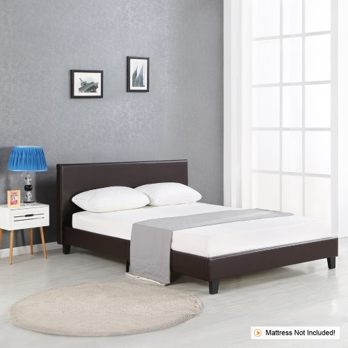 iKayaa Modern King Sized Upholstered Linen Platform Bed Frames With Wood Slats Wingback Bed Frame Sponge Padded Brown 200KG Capacity for 193*203cm Mattress