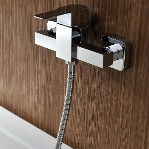 Homgeek moderna di alta qualità in ottone a parete Vasca da bagno del rubinetto Cromo lucido doccia Mixer Bagno hotel