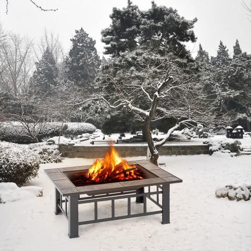 iKayaa Metal Garden Backyard Patio Outdoor Fire Pit