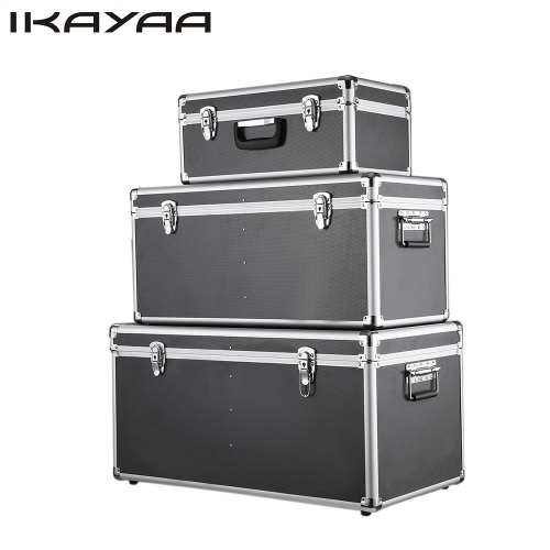 IKayaa 3PCS Multi Purpose Aluminum Tool Boxes Case Lockable Storage Boxes  Container Large/Middle