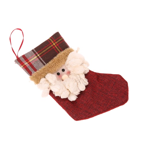 Festnight 6pcs Santa Claus Tree Hanging Decorations Christmas Stockings Supplies Snowman Elk Ornaments Gift Bag Socks
