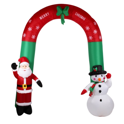 2.4m Inflatable Archway with Santa Claus and Snowman Inflatable Waving Hand Father Christmas and Snowman Cute Xmas Decoration 7.9ft