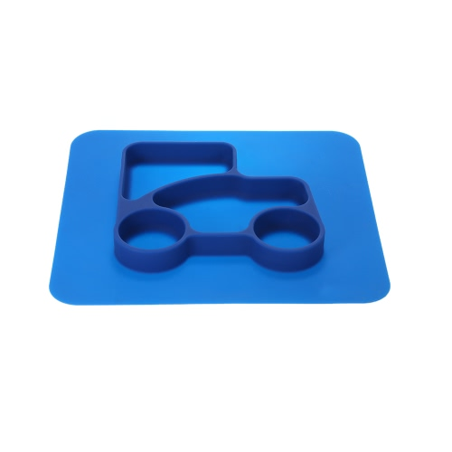 2 in 1 Safe Waterproof Blue Silicone Divided Placemat Plate Bowl Tableware for Baby Toddler Kids