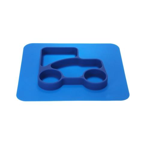 2 en 1 Safe Waterproof Silicone Bleu Placemat Divided Plate Bowl Vaisselle pour bébé tout-petits enfants