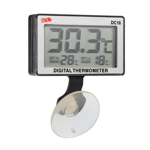 LCD-Digital-Fisch-Behälter-Aquarium-Thermometer Tauchwassertemperaturmessgerät 0 ° C ~ 50 ° C Hoch / Niedrig-Temperatur-Alarm