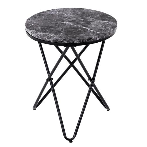 Table d'appoint iKayaa noir effet marbre