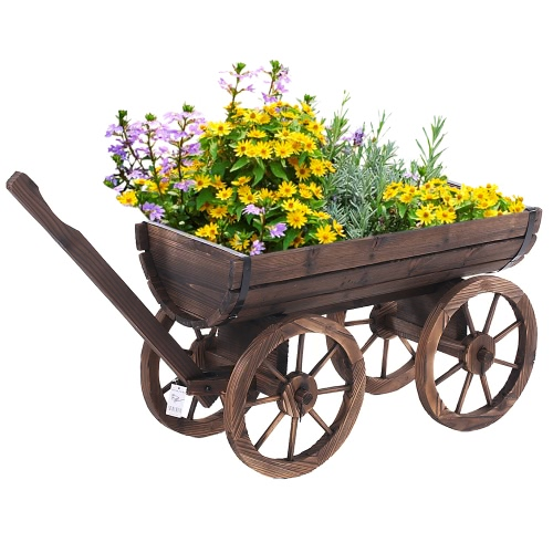Ikayaa Garden Wood Wagon Planter Pot W Wheels Flower Planting Box