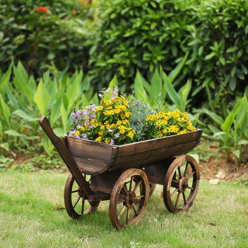 iKayaa Garten Holz Wagon Pflanzgefäß
