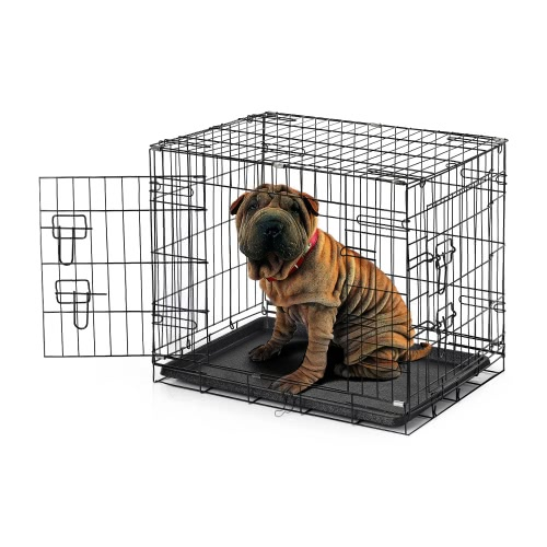 "IKayaa 24 ""Металлическая складная клетка для ящиков для собак W / Tray + 2 Doors Cat Rabbit Pet Kennel House для животных"