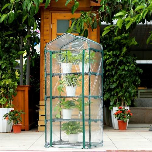 IKayaa Outdoor Garden 4 Tier Mini Casa Verde
