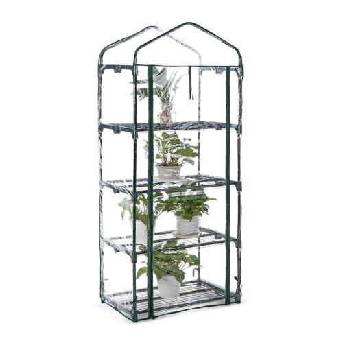 IKayaa Outdoor Garten 4 Tier Mini Grün Haus Growbag W / Regale Metall Rahmen & PVC Abdeckung 69 * 49 * 160cm (L * W * H)