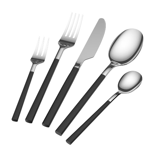 Homgeek Heavy-Duty 5 Pieces Flatware Set High-end Western Tableware Black Handle Stainless Steel High Quality Dinnerware   with Bren Light Hand Polishing Royal Cutlery Including 2 Forks 2 Spoons 1 Table Knife for Home Kitchen or Restaurant