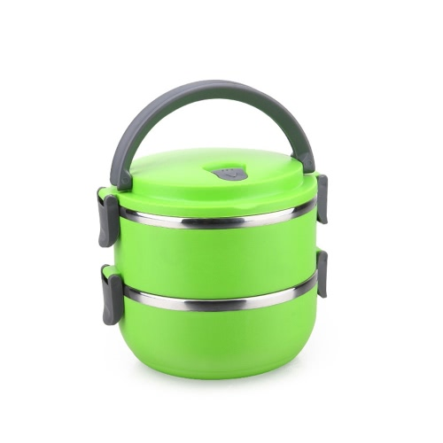 1400ml 2-Layer Good Quality Stainless Steel Thermal Lunch Box Practical Handy Insulation Lunch Box Multifunctional Heat & Cold Preservation Box Food Carrier Travel & To-Go Food Containers