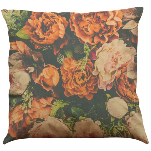 Fashion High Quality Colorful Linen Flowers Multi-colors Red Roses Green Grass Leaves Decorative Square Printed Throw Pillow Cases Cushion Covers for Room Office Sofa Car Decor