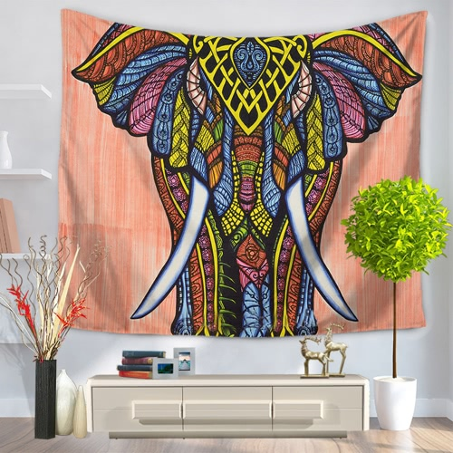 130*150cm Colored Drawing Elephants Mandala Home Polyester Wall Hanging Tapestry Decor Art Colorful Painting Bedspread Beach Towel Picnic Blanket Table Cloth Carpet