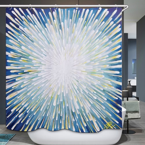 72 * 72'' Printed 3D Effect Decorative Bathroom Curtain Polyester Waterproof Mildewproof Shower Curtain with 12pcs Hooks