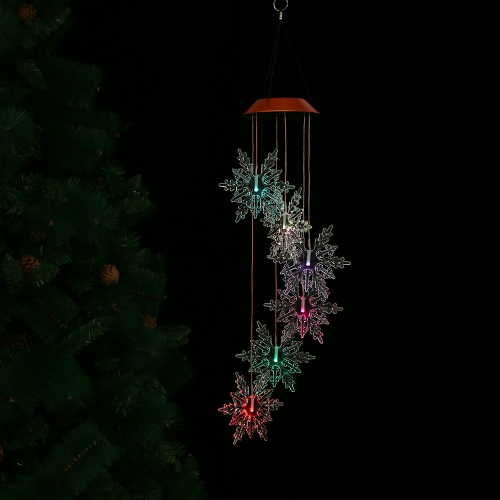 Color-Changing LED Solar Mobile Wind Chime Pathonor Changing Light Color Waterproof Six Hummingbird Wind Chimes For Home/ Party/ Night Garden Decoration