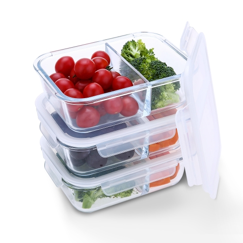 2 Compartment Glass Food Storage Containers with Snap Locking Lids