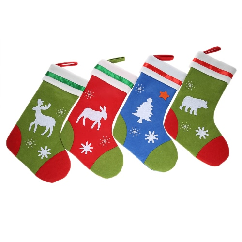 4pcs / set Christmas Hanging Stockings X'mas Gift Candy Bags Décoration Décoration Décoration de Noël - Assortiment de motifs