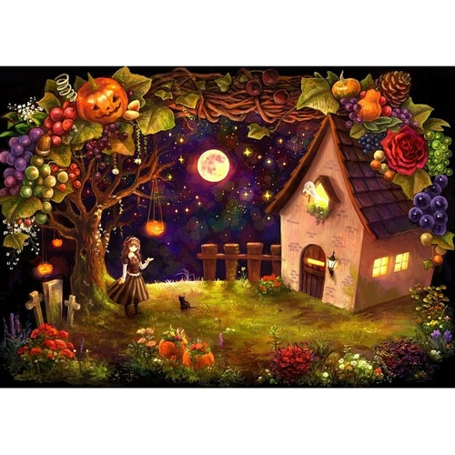DIY Handmade Painting Hut in the Forest Halloween Night Diamond Painting Wall Decoration Halloween Gift
