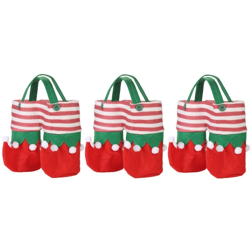 3pcs / set Bolsos de la botella de vino de la Navidad Bolsos de la bebida de la bebida Bolsos del regalo del caramelo fijados con las manijas Ornamentos de las decoraciones de la Navidad