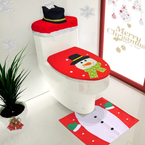 3pcs/set Christmas Bathroom Decorations Toilet Seat Cover + U-shaped Rug + Tank Lid & Tissue Box Cover Set Christmas Ornaments