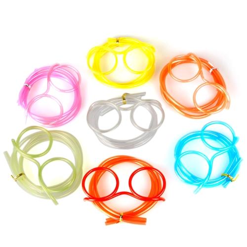 Kreative Spaß Brillen Stroh Verrückte Design DIY Silly Transparent Lustige Stilvolle Cartoon Kunststoff Geschenk für Kinder
