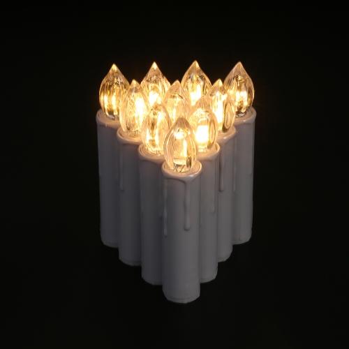 10pcs / set Candele senza fili di telecomando del LED bianco caldo realistico