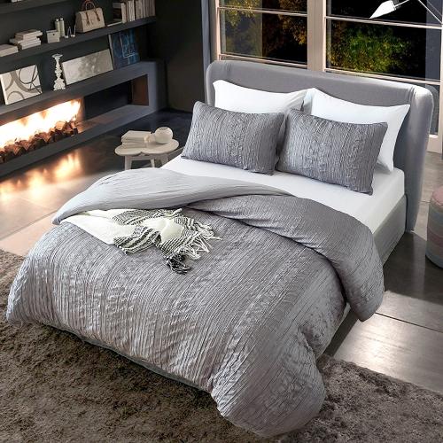 3pcs/set Grey Bedding Set Wrinkled Texture Soft Polyester Microfiber Duvet Cover + 2pcs Pillowcases Set--Queen Size